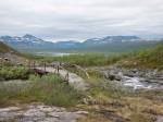 Leiripaikka Ruotsin puolella, taustalla Norjan tuntureita